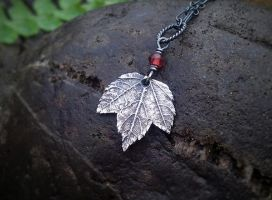 Maple -Baby Leaf- Garnet - Pendant by QuintessentialArts