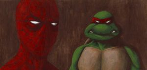 Spider-man and Raphael by HectorEnriquez