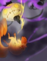 Vulpix Verse Chandelure : Chairty drive art by skulldog