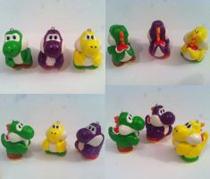 3 Yoshi charms by CemeteryDrive87