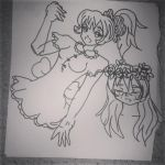 sketch: ponytail and woman with flowers by ItalianDream