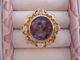Golden Ring with Amethyst by Emane1983