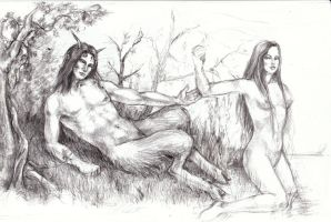 Satyr and Nymph by Queen-Bastet