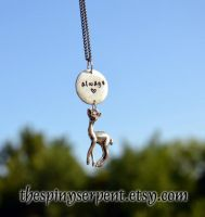 Always - The Silver Doe - Hand stamped pendant by kittykat01