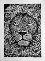 Lion Woodcut by olafthemediocre