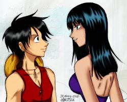 Luffy x Robin by MisaDN