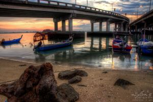 Sunrise of Penang bridge - The fishing boats 3 by fighteden