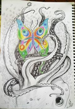 butterfly and octopus by Menfia
