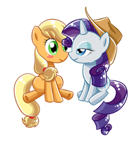 Commission 31 Rarity X Applejack by AngieR3741