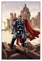 Thor in fallen Asgard by logicfun
