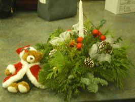 Christmas Floral Piece with Bear by blackstarlight17