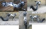 Black and White Fantasy Fox Sculpture by starwolf303