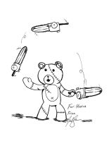 Teddy Bear Juggling Chainsaws by cat-gray-and-me78