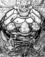 In the Belly of the Sungod Black and White by racingspoons