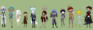 RG - Chibi Lineup by the-attic-keeper