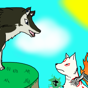 Wolf Link and Ammy by EeveeLover64