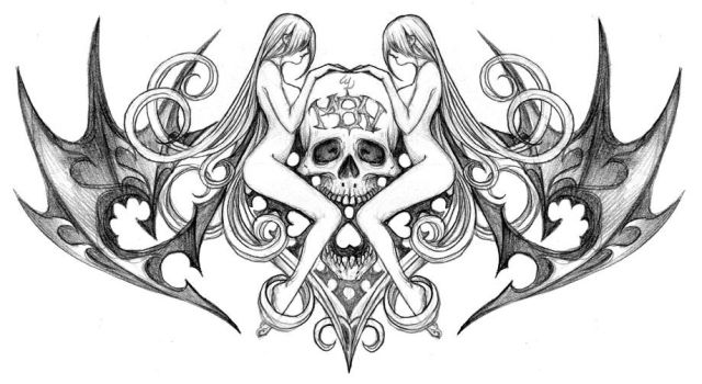 New skull tat by Wen-M