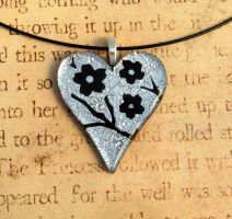 Silver Cherry Blossom Heart Fused Glass Pendant by FusedElegance