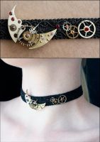 Moon and stars choker by Catarios