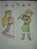 Link and Zelda's duet II by baddrawerlol