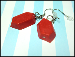 Red Rupee Earrings by GrandmaThunderpants