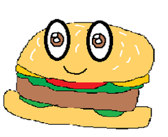 Why does burger have eyes?!?!? by MLsvampprincess