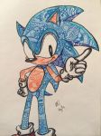 Sonic The Hedgehog Zentangle by onlychasingrainbows