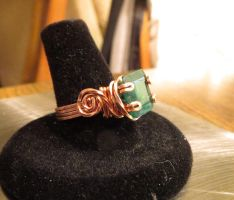 Emerald Copper wire wrapped ring by whippetgirl
