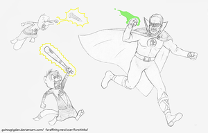 Basil and Shank vs Golden Age Green Lantern by GuineaPigDan