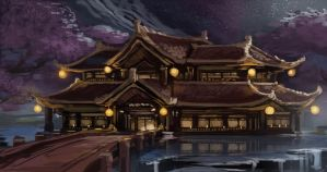 Japanese Temple Painting by nin-mario64