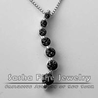 Black Diamond Pendant Necklace by sashajewelry