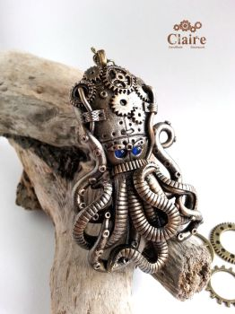 Steampunk Octopus Pendant by ClaireSteampunk
