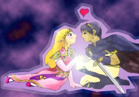 Zelda and Marth by midnight-risu