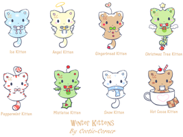 Christmas Kitten Adoptables - CLOSED by Cootie-Corner