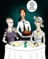 GLaDOS: High tea with the Borg Queen by Comedic44