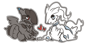 PF com : Chibi Reshiram and Zekrom by Reintastic