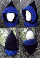 Dragon-scale crocheted hood, Black/Sapphire by Arexandria