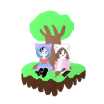 Amy and Minxx Floating Island Pixel (non gif) by Krispy-Kuki