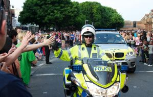 Olympic Torch Run-Through in Worcester, Police by Art-ography