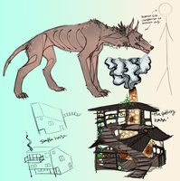 Dream Sketches and Notes: Mutant Dog and Bel House by Aviator33