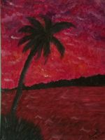 Coconut trees at sunset by sayako-arts