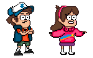 Gravity Falls: Pixel Dipper and Mabel by general-abe