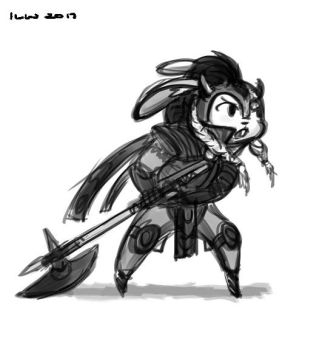 Bunny Warrior Sketch by izzyleidlwilson