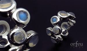 Silver Ring with Moon Stones by orfeujoias