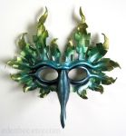 Fantasy Bird leather mask in blue, green, and gold by shmeeden