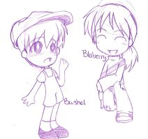 Sketch:Bushel and Bluberry by Natsumi-chan0wolf