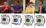 TBBT gang as the portal 2 cores by Amazingangus76