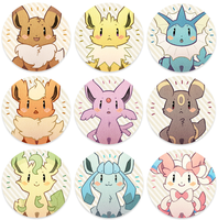 Eevees - Buttons by Mi-eau
