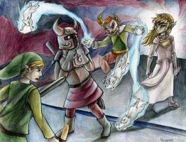 Link vs Puppet Cole and Zelda by yurionna