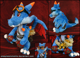 Shiny Mega Charizard X Plush by SleeplessTotodile